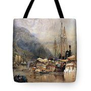 Shipping On The Hudson River Tote Bag by Samuel Colman