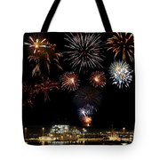 Ships And Fireworks Tote Bag