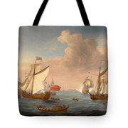 Ships In The Thames Estuary Near Sheerness Tote Bag