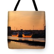 Ships Moored At The New Docking Tote Bag