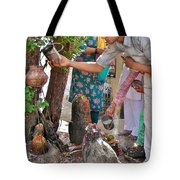 Morning Offerings At A Shiva Temple - India Tote Bag