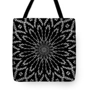 Shooting Star Black And White Kaleidoscope Tote Bag