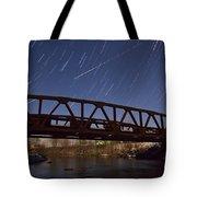 Shooting Star Over Bridge Tote Bag
