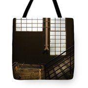 Shopping Cart Stairs At Window Tote Bag