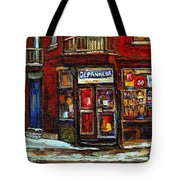Shops And Streets Of St Henri- Montreal Paintings Depanneur Coca Cola Winter City Scenes Tote Bag