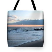 Shoreline  And Waves At Cape May Tote Bag