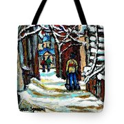 Shovelling Out After January Storm Verdun Streets Clad In Winter Whites Montreal Painting C Spandau Tote Bag