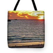 Shrimp Boats And Gulls Over Sea Of Cortez At Sunset From Playa Bonita Beach-mexico Tote Bag