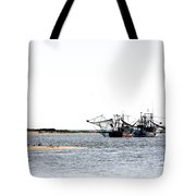 Shrimpers With Pelicans - Waiting On Shore Tote Bag