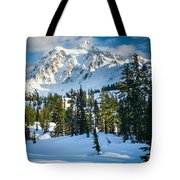 Shuksan Winter Paradise Tote Bag by Inge Johnsson