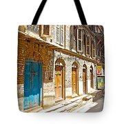 Shutters And Doors Along The Street In Bhaktapur-city Of Devotees-nepal  Tote Bag