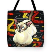Siamese Cat On A Cushion Tote Bag