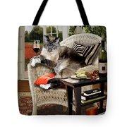 Funny Pet A Wine Bibbing Kitty  Tote Bag