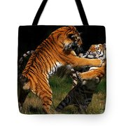 Siberian Tigers In Fight Tote Bag