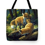 Red Foxes - Sibling Rivalry Tote Bag