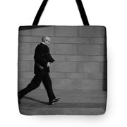 Side Profile Of A Businessman Running Tote Bag