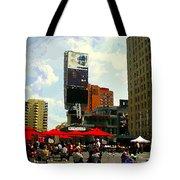 Sidewalk Cafe Lunch Break Red Umbrellas Yonge Dundas Square Toronto Cityscene C Spandau Canadian Art Tote Bag