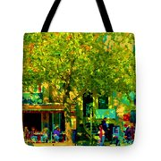 Sidewalk Cafe Rue St Denis Dappled Sunlight Shade Trees Joys Of Montreal City Scene  Carole Spandau Tote Bag