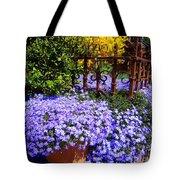 Sidewalk Spring Scene Tote Bag