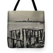 Siglufjordur Old Pier Black And White Tote Bag