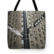 Signs For Broadway And Wall Street Tote Bag