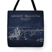 Sikorsky Helicopter Patent Drawing From 1943 Tote Bag