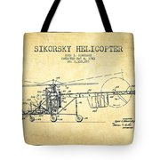 Sikorsky Helicopter Patent Drawing From 1943-vintgae Tote Bag