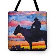 Silhouette Cowboy Tote Bag