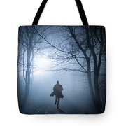 Silhouette Man Running In Foggy Woodland Tote Bag