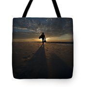 Silhouette Of A Man Wearing Hat And The Bag In Hand Walking On The Seashore Tote Bag