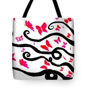 Silhouette Of A Woman With Pink Butterflies Tote Bag