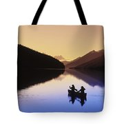 Silhouette Of Canoeists, Bowron Lake Tote Bag