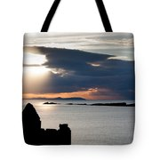 Silhouette Of Dunluce Castle Tote Bag