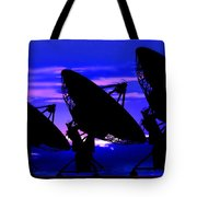 Silhouette Of Satellite Dishes Tote Bag