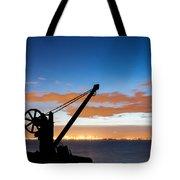 Silhouette Of The Davit In Dublin Port Tote Bag