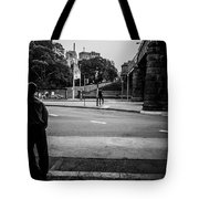 Silhouetted Man Leans Black And White Tote Bag