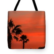Silhouetted Palm Trees Tote Bag