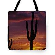 Silhouetted Saguaro Cactus Sunset  Arizona State Usa Tote Bag