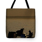 Silhouetted Sea Monster Playing Piano.tif Tote Bag