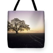 Silhouetted Tree In Field Sunrise Tote Bag