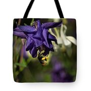Silky Blue Columbine And A Busy Bee Tote Bag