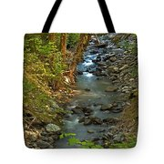 Silky Stream In Rain Forest Landscape Art Prints Tote Bag