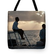Sillouetted Man Steers Flats Boat Tote Bag