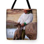 Sillustani Girl With Hat And Lamb Tote Bag by RicardMN Photography