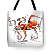 Silly Octopus Taking A Bath Tote Bag