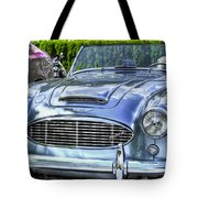 Silver 1963 Austin Healey Roadster 3000 Tote Bag