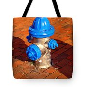 Silver And Blue Hydrant Tote Bag