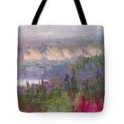 Silver And Gold - Matanuska Canyon Cliffs River Fireweed Tote Bag by Talya Johnson