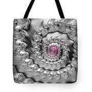 Silver And Pink Spiral Glossy Silber Metal Tote Bag