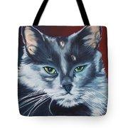 Silver Grey Cat Portrait Tote Bag
